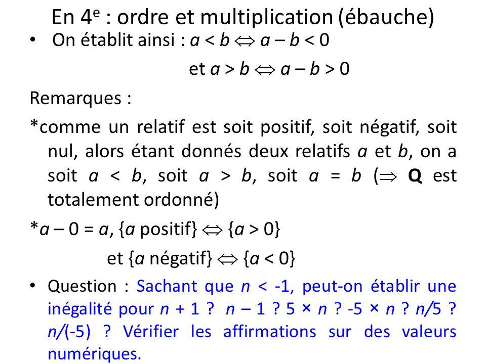 En 4 e : ordre et multiplication (ébauche) On établit ainsi : a < b a – b < 0 et a > b a – b > 0 Remarques : *comme un relatif est soit positif, soit