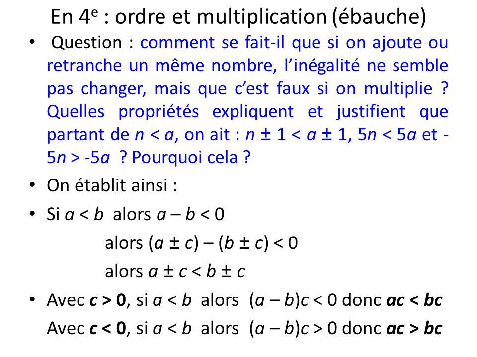 En 4 e : ordre et multiplication (ébauche) Question : comment se fait-il que si on ajoute ou retranche un même nombre, linégalité ne semble pas change