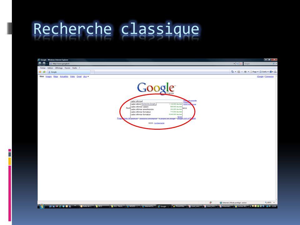 Pensez à bien sélectionner létendue de la recherche : Web, pages francophones, page France.