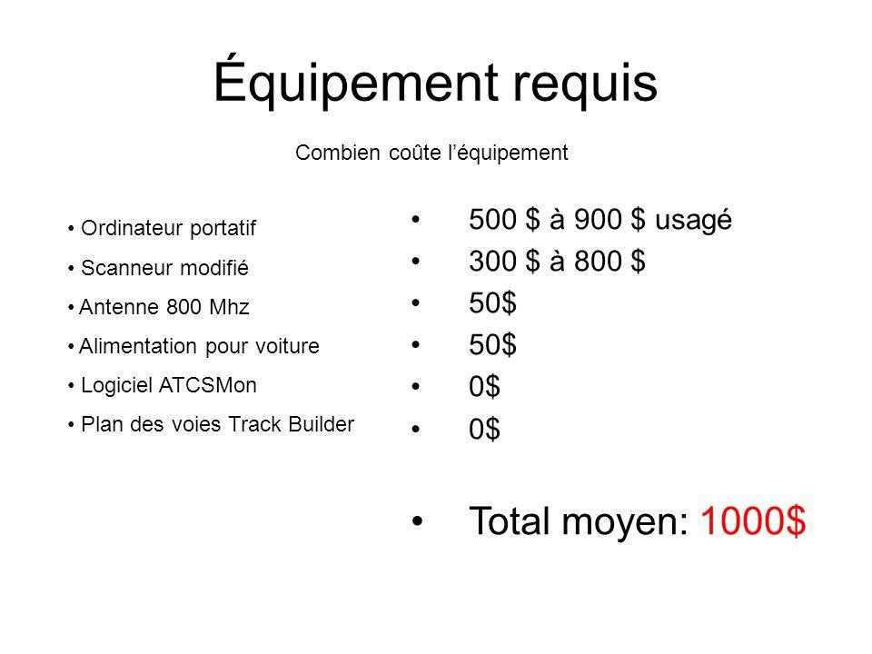 Équipement requis Ordinateur portatif Scanneur modifié Antenne 800 Mhz Alimentation pour voiture Logiciel ATCSMon Plan des voies Track Builder Combien coûte léquipement 500 $ à 900 $ usagé 300 $ à 800 $ 50$ 0$ Total moyen: 1000$