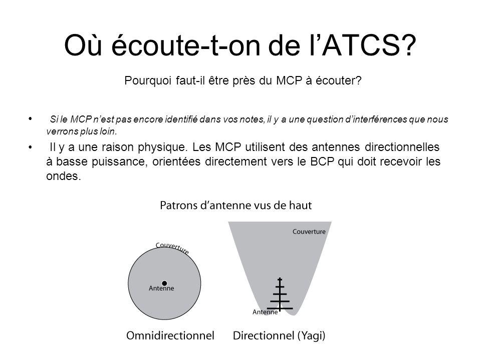 Où écoute-t-on de lATCS. Pourquoi faut-il être près du MCP à écouter.