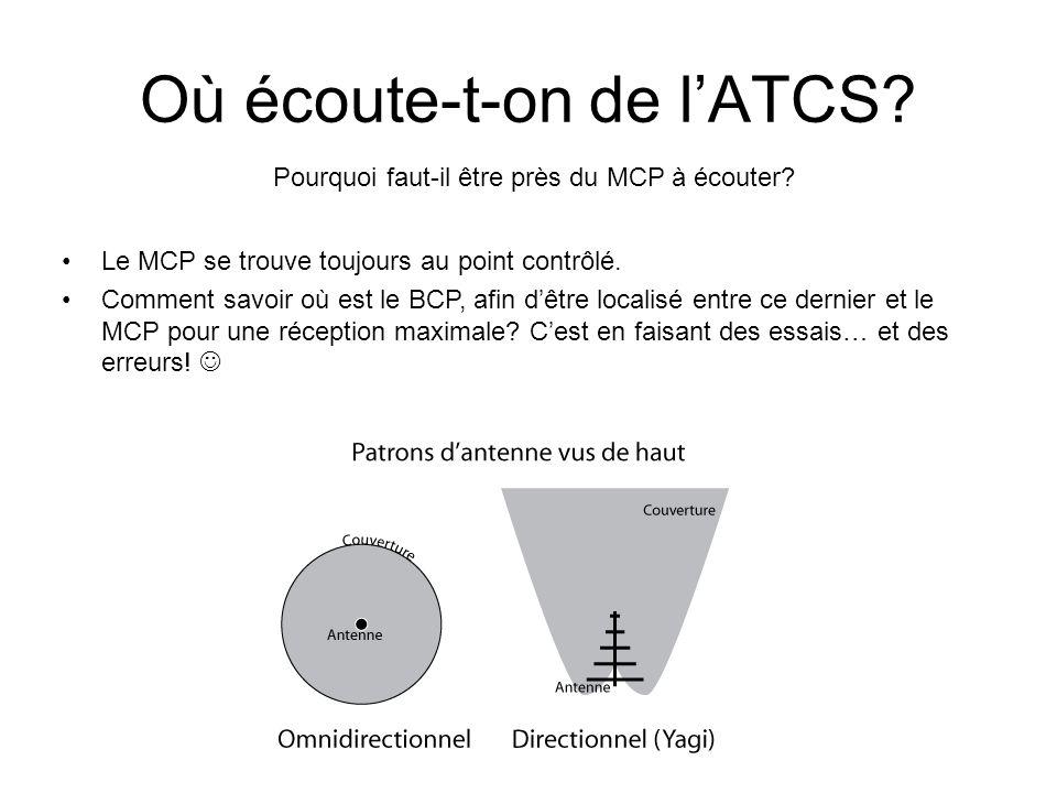 Où écoute-t-on de lATCS? Pourquoi faut-il être près du MCP à écouter? Le MCP se trouve toujours au point contrôlé. Comment savoir où est le BCP, afin