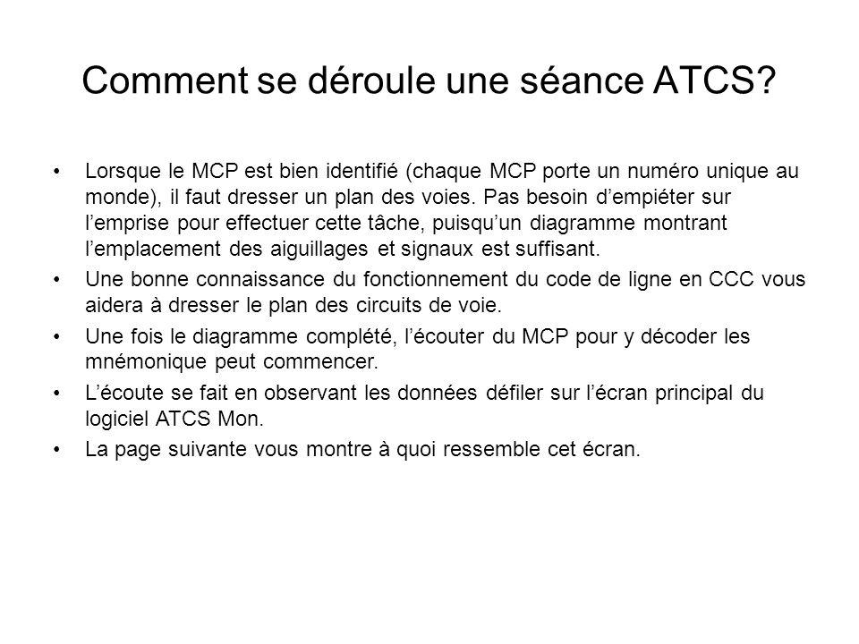 Comment se déroule une séance ATCS? Lorsque le MCP est bien identifié (chaque MCP porte un numéro unique au monde), il faut dresser un plan des voies.