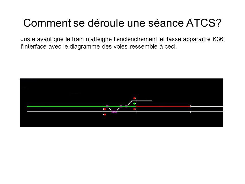 Comment se déroule une séance ATCS? Juste avant que le train natteigne lenclenchement et fasse apparaître K36, linterface avec le diagramme des voies