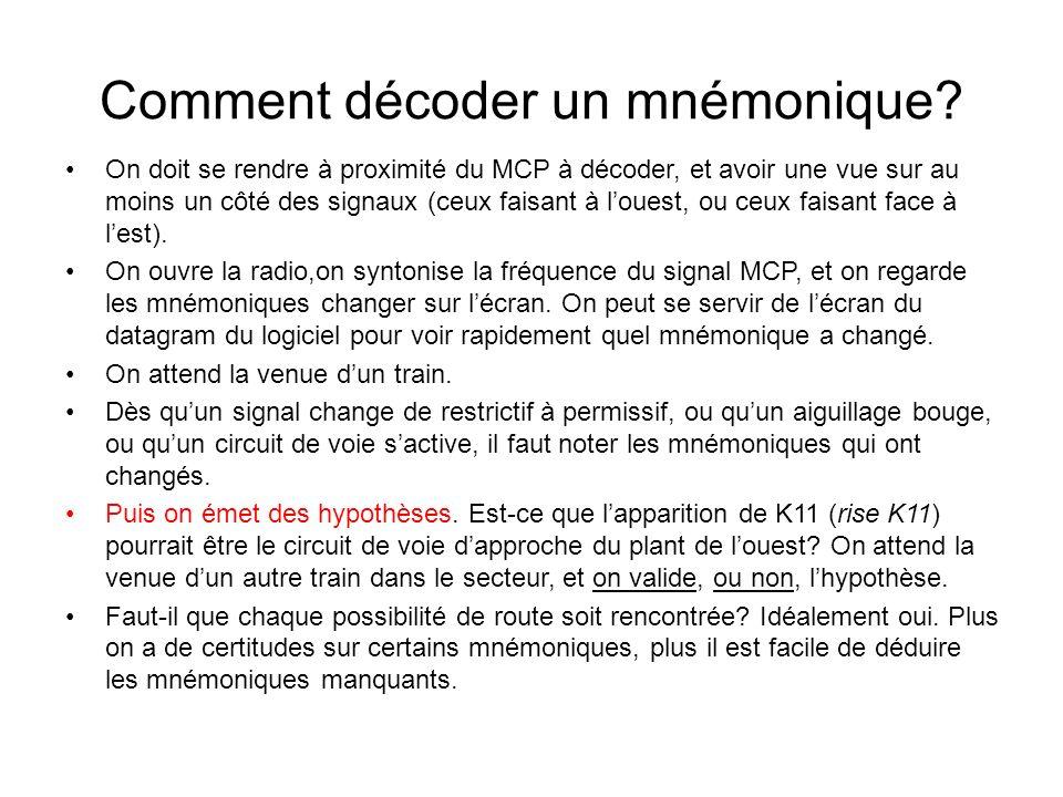 Comment décoder un mnémonique? On doit se rendre à proximité du MCP à décoder, et avoir une vue sur au moins un côté des signaux (ceux faisant à loues