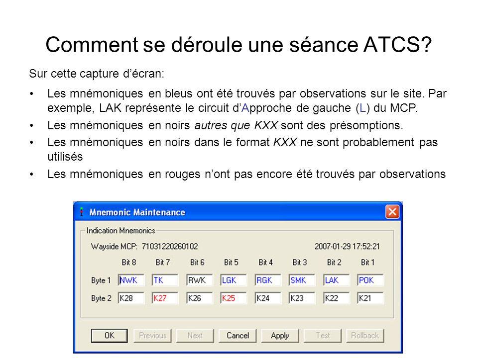 Comment se déroule une séance ATCS? Sur cette capture décran: Les mnémoniques en bleus ont été trouvés par observations sur le site. Par exemple, LAK