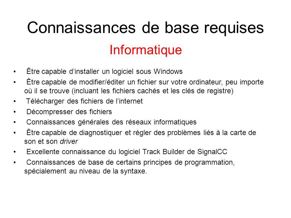 Connaissances de base requises Informatique Être capable dinstaller un logiciel sous Windows Être capable de modifier/éditer un fichier sur votre ordi