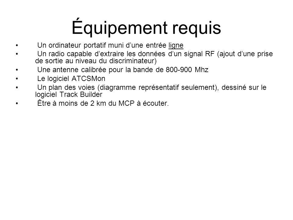 Équipement requis Un ordinateur portatif muni dune entrée ligne Un radio capable dextraire les données dun signal RF (ajout dune prise de sortie au niveau du discriminateur) Une antenne calibrée pour la bande de 800-900 Mhz Le logiciel ATCSMon Un plan des voies (diagramme représentatif seulement), dessiné sur le logiciel Track Builder Être à moins de 2 km du MCP à écouter.