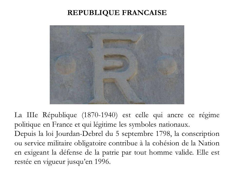 REPUBLIQUE FRANCAISE La IIIe République (1870-1940) est celle qui ancre ce régime politique en France et qui légitime les symboles nationaux. Depuis l