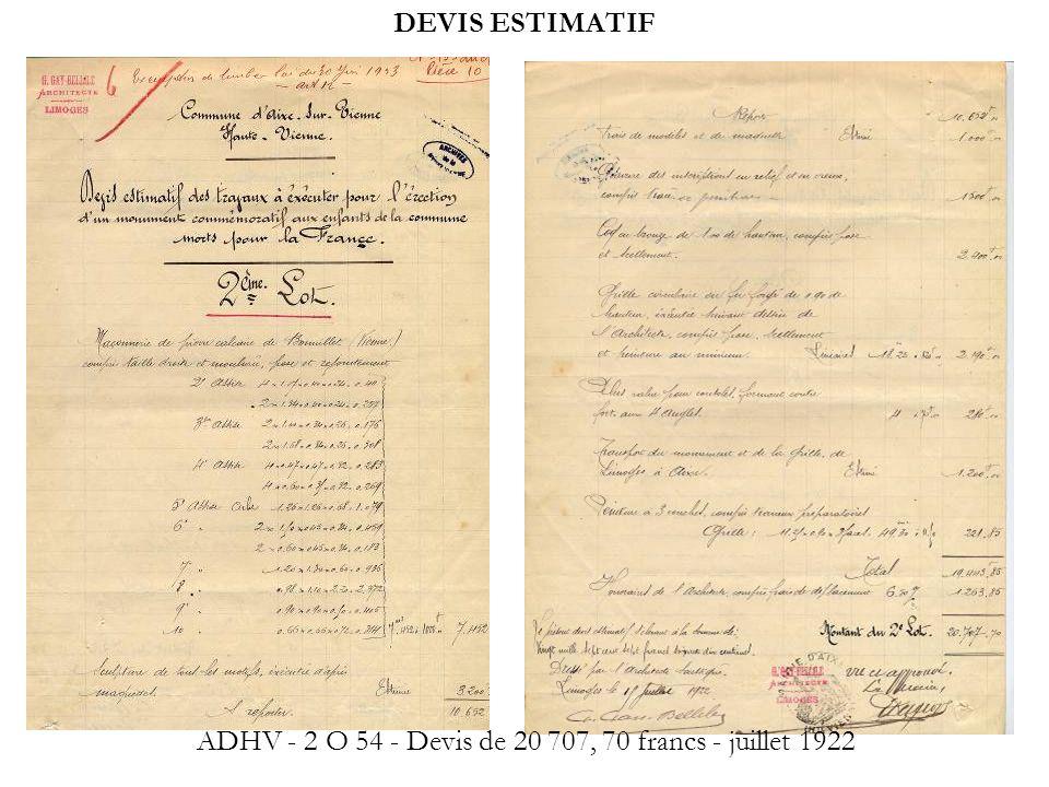 DEVIS ESTIMATIF ADHV - 2 O 54 - Devis de 20 707, 70 francs - juillet 1922