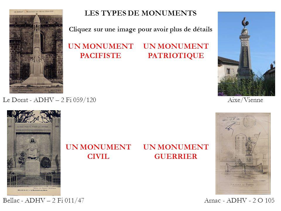 LES TYPES DE MONUMENTS Le Dorat - ADHV – 2 Fi 059/120 Bellac - ADHV – 2 Fi 011/47Arnac - ADHV - 2 O 105 UN MONUMENT PACIFISTE UN MONUMENT CIVIL UN MON