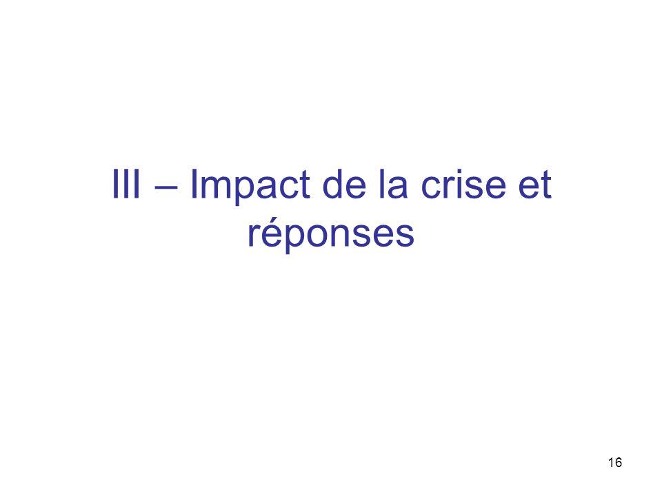 16 III – Impact de la crise et réponses