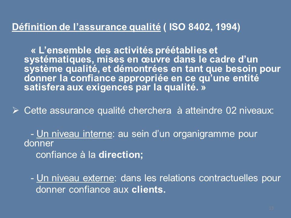 Définition de lassurance qualité ( ISO 8402, 1994) « Lensemble des activités préétablies et systématiques, mises en œuvre dans le cadre dun système qu