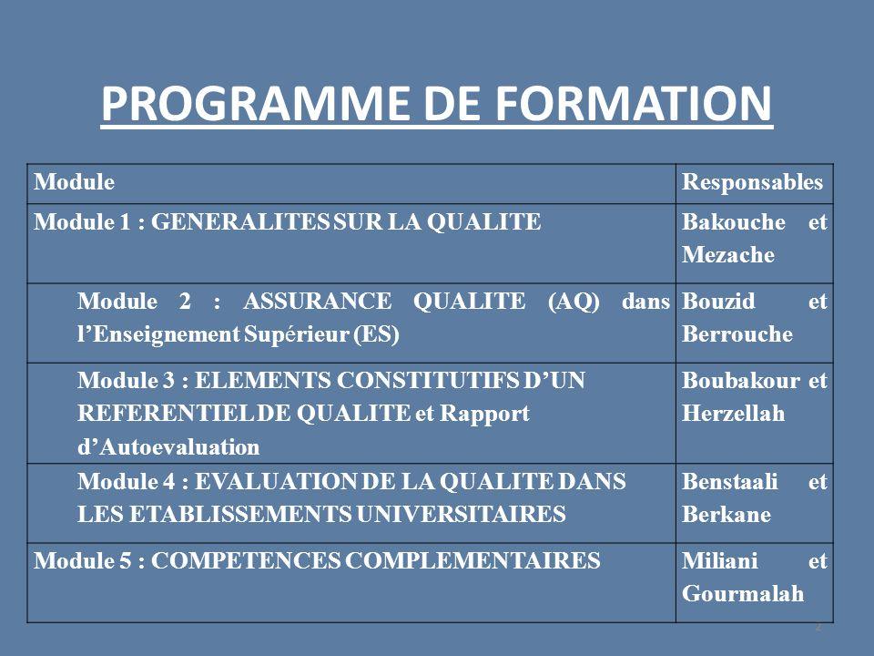 PROGRAMME DE FORMATION 2 ModuleResponsables Module 1 : GENERALITES SUR LA QUALITE Bakouche et Mezache Module 2 : ASSURANCE QUALITE (AQ) dans lEnseigne