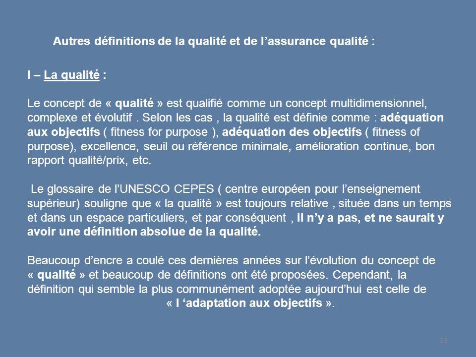 Autres définitions de la qualité et de lassurance qualité : I – La qualité : Le concept de « qualité » est qualifié comme un concept multidimensionnel