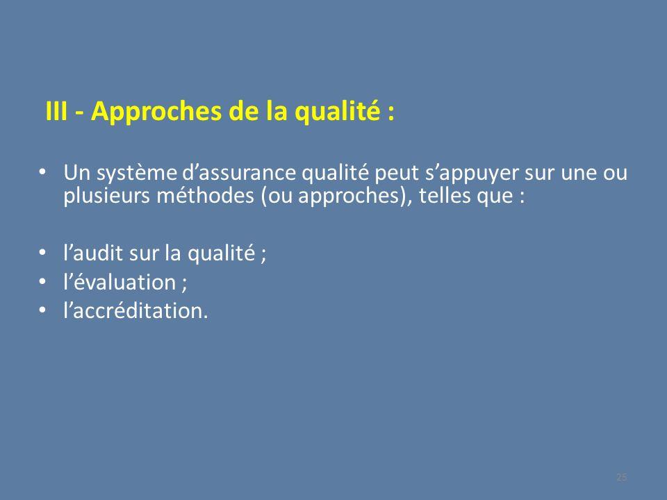 III - Approches de la qualité : Un système dassurance qualité peut sappuyer sur une ou plusieurs méthodes (ou approches), telles que : laudit sur la q