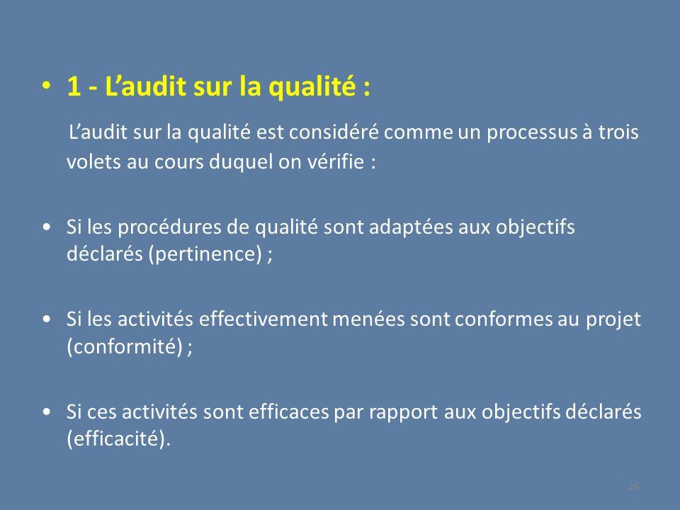 1 - Laudit sur la qualité : Laudit sur la qualité est considéré comme un processus à trois volets au cours duquel on vérifie : Si les procédures de qu