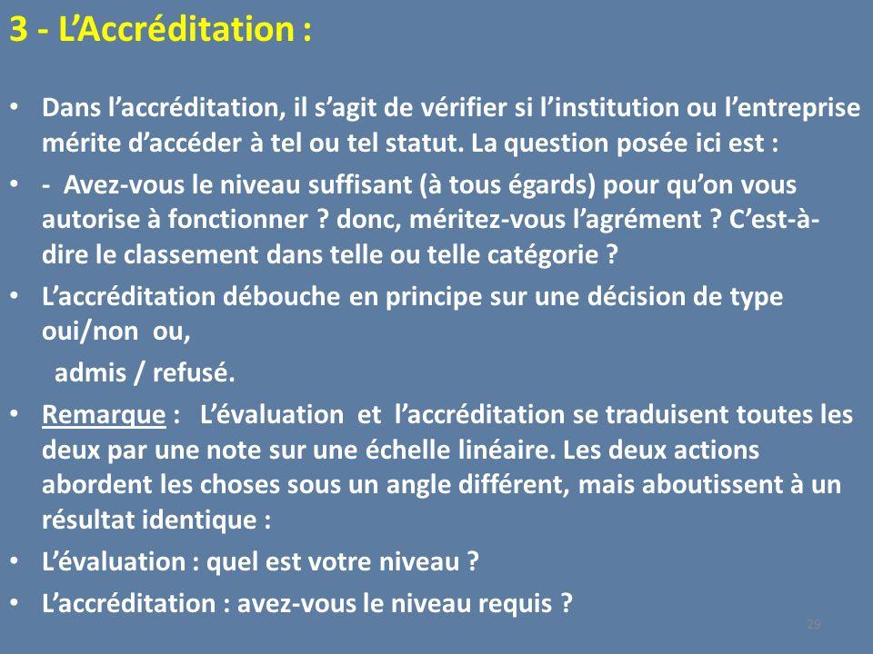 3 - LAccréditation : Dans laccréditation, il sagit de vérifier si linstitution ou lentreprise mérite daccéder à tel ou tel statut. La question posée i