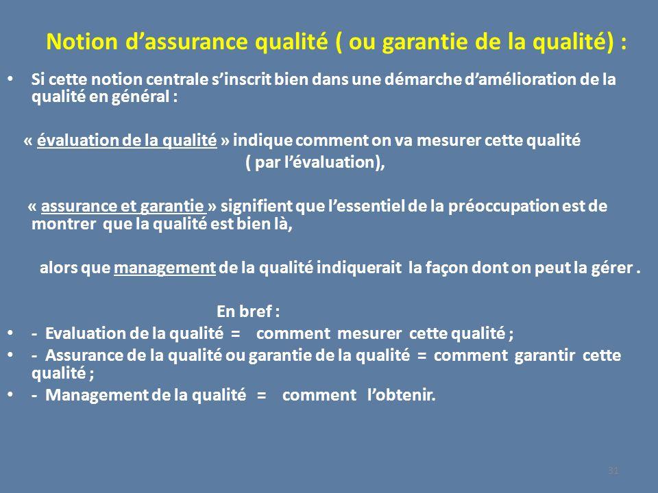 Notion dassurance qualité ( ou garantie de la qualité) : Si cette notion centrale sinscrit bien dans une démarche damélioration de la qualité en génér