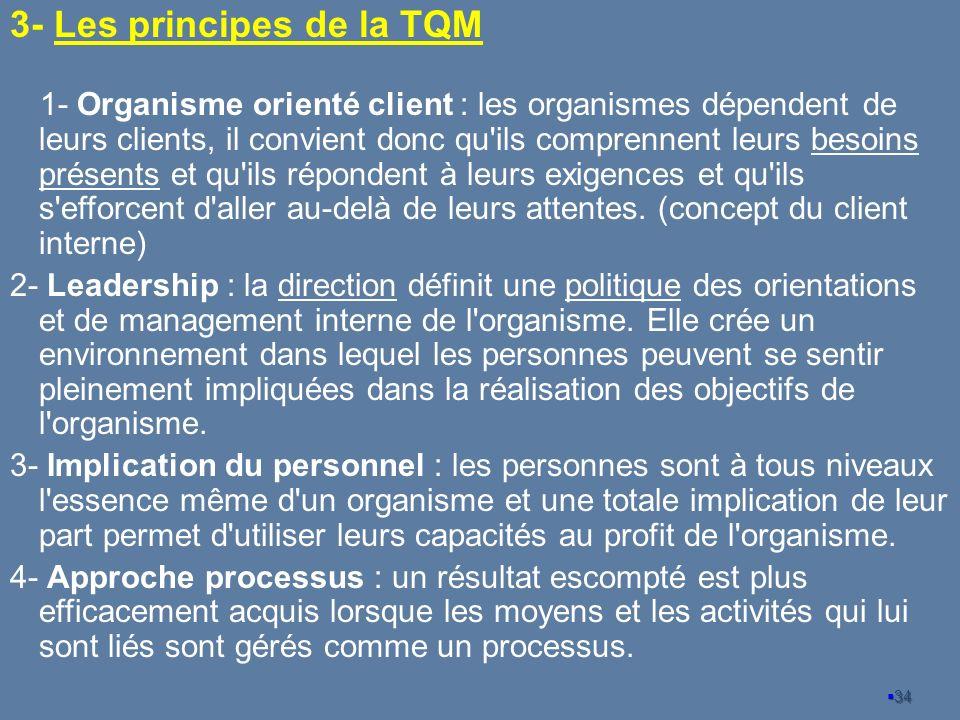 3- Les principes de la TQM 1- Organisme orienté client : les organismes dépendent de leurs clients, il convient donc qu'ils comprennent leurs besoins