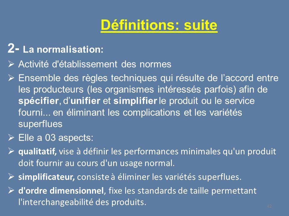 Définitions: suite 2- La normalisation: Activité d'établissement des normes Ensemble des règles techniques qui résulte de laccord entre les producteur