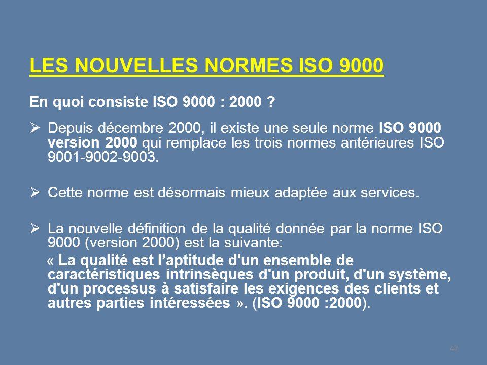 LES NOUVELLES NORMES ISO 9000 En quoi consiste ISO 9000 : 2000 ? Depuis décembre 2000, il existe une seule norme ISO 9000 version 2000 qui remplace le