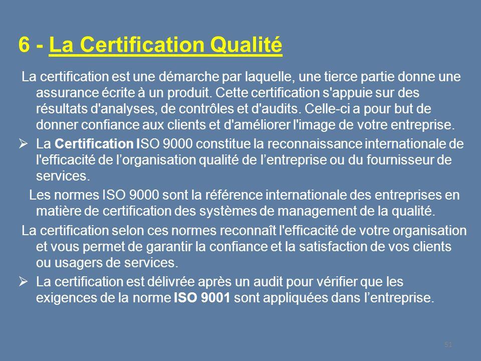 6 - La Certification Qualité La certification est une démarche par laquelle, une tierce partie donne une assurance écrite à un produit. Cette certific