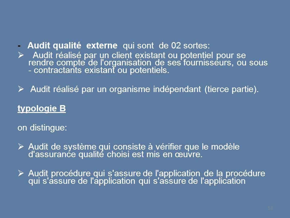 - Audit qualité externe qui sont de 02 sortes: Audit réalisé par un client existant ou potentiel pour se rendre compte de l'organisation de ses fourni