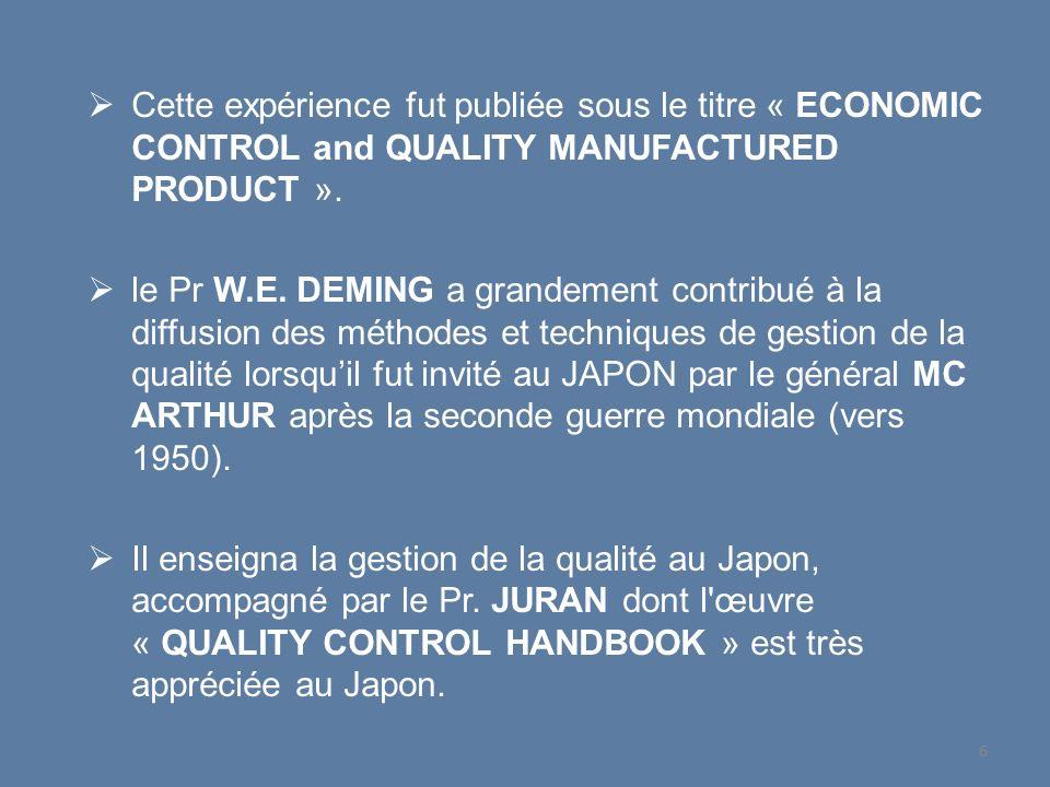 Cette expérience fut publiée sous le titre « ECONOMIC CONTROL and QUALITY MANUFACTURED PRODUCT ». le Pr W.E. DEMING a grandement contribué à la diffus