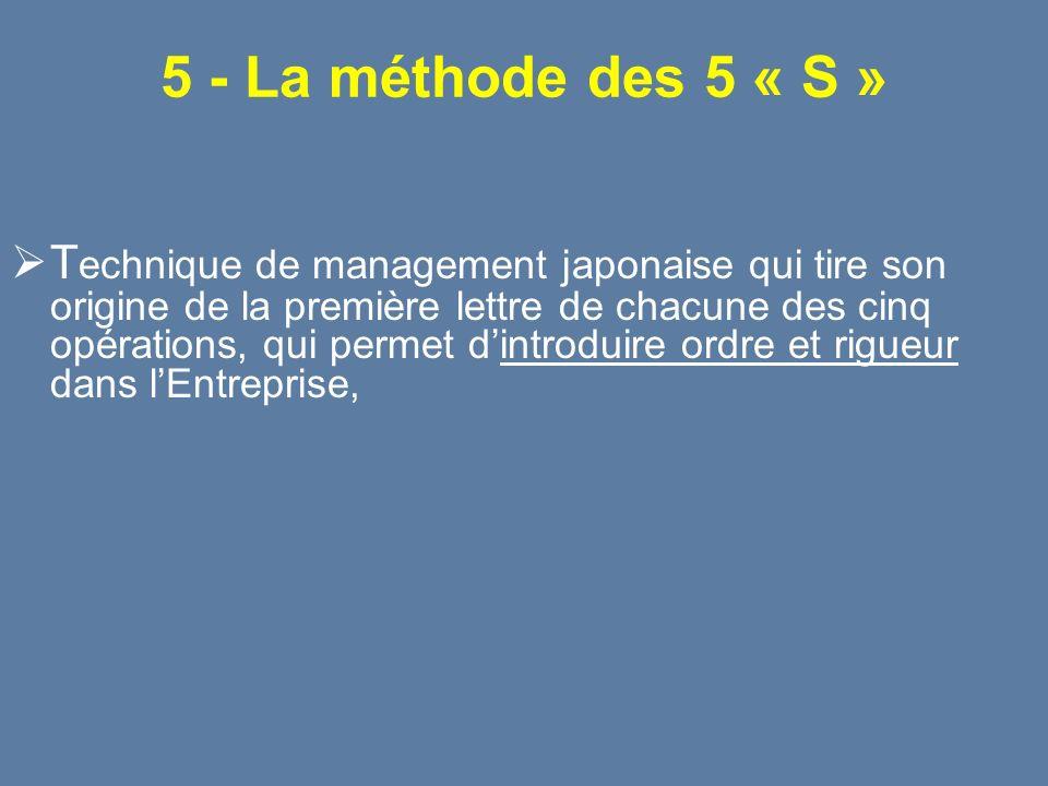 5 - La méthode des 5 « S » T echnique de management japonaise qui tire son origine de la première lettre de chacune des cinq opérations, qui permet di
