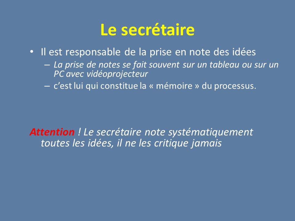 Le secrétaire Il est responsable de la prise en note des idées – La prise de notes se fait souvent sur un tableau ou sur un PC avec vidéoprojecteur –