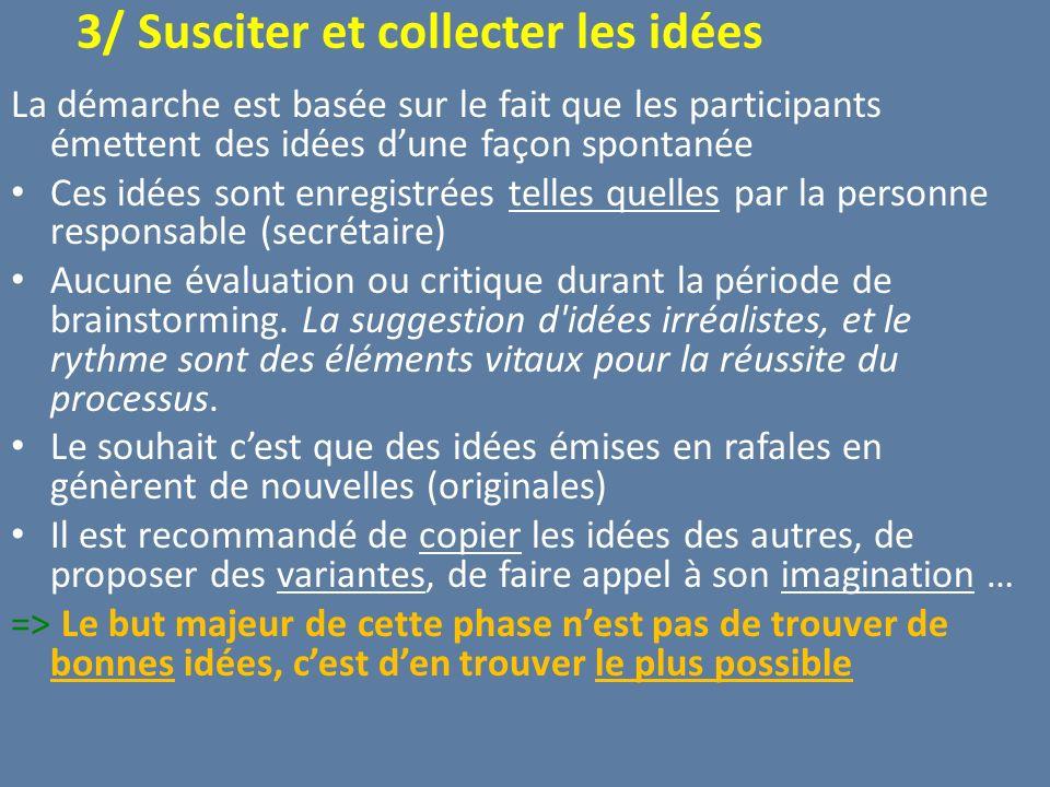 3/ Susciter et collecter les idées La démarche est basée sur le fait que les participants émettent des idées dune façon spontanée Ces idées sont enreg