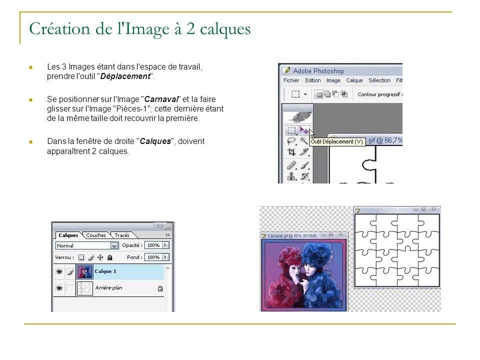 Création de l'Image à 2 calques Les 3 Images étant dans l'espace de travail, prendre l'outil