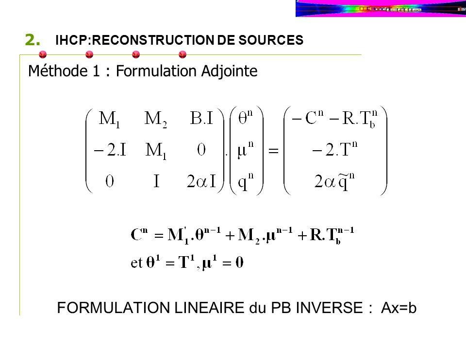 Méthode 1 : Formulation Adjointe IHCP:RECONSTRUCTION DE SOURCES 2.