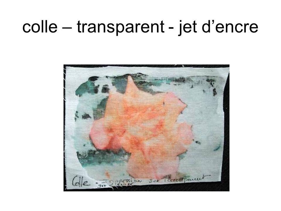 colle – transparent - jet dencre