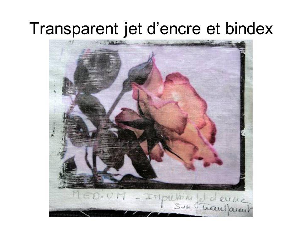 Transparent jet dencre et bindex