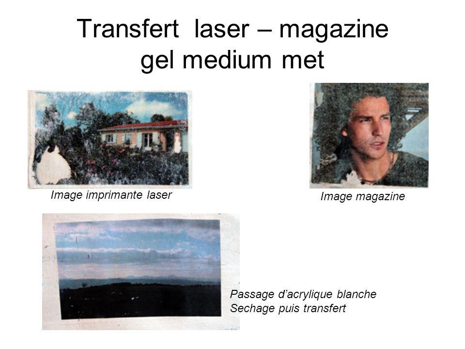 Transfert laser – magazine gel medium met Image imprimante laser Image magazine Passage dacrylique blanche Sechage puis transfert