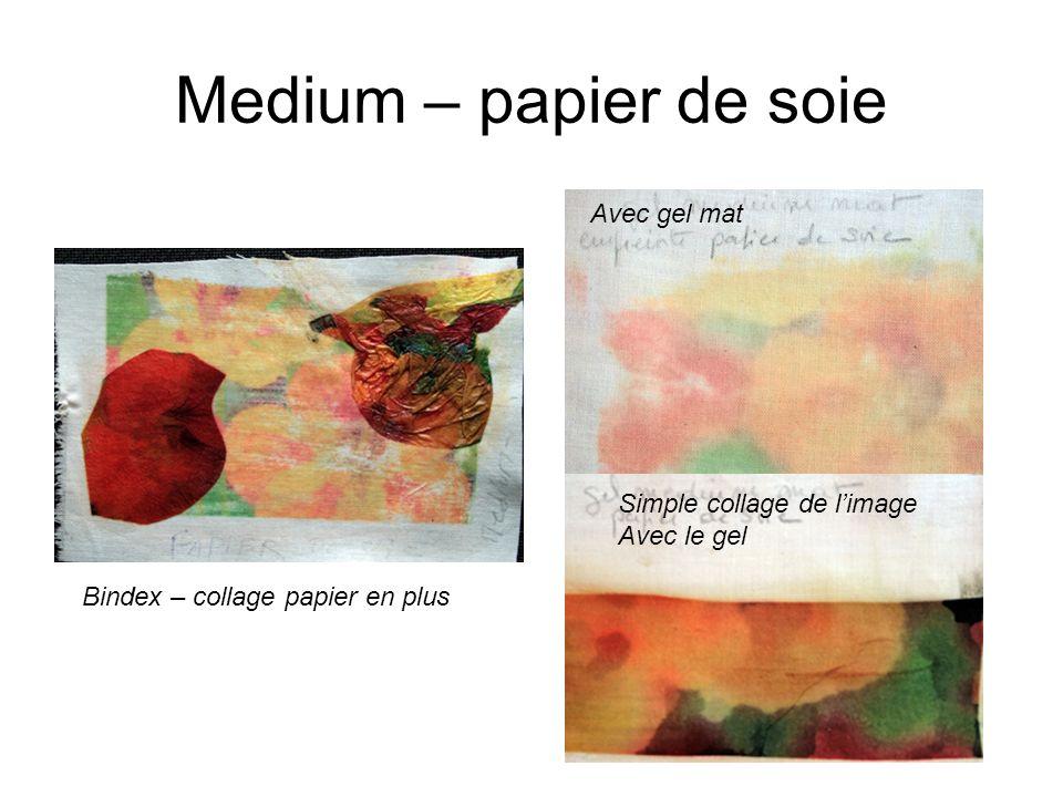Medium – papier de soie Bindex – collage papier en plus Avec gel mat Simple collage de limage Avec le gel