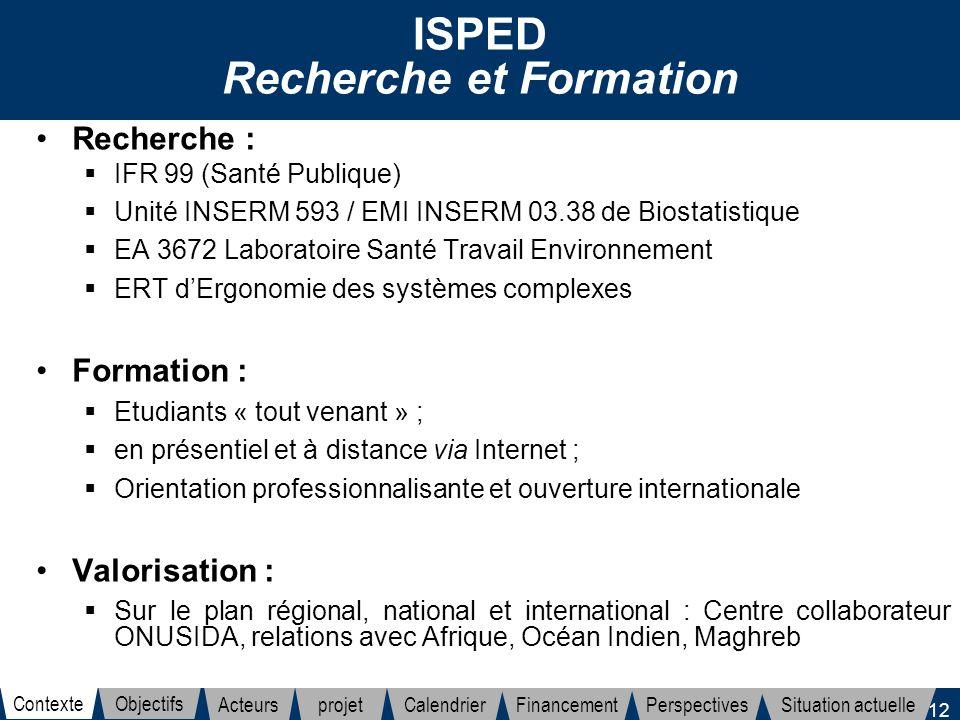 12 ISPED Recherche et Formation Recherche : IFR 99 (Santé Publique) Unité INSERM 593 / EMI INSERM 03.38 de Biostatistique EA 3672 Laboratoire Santé Tr