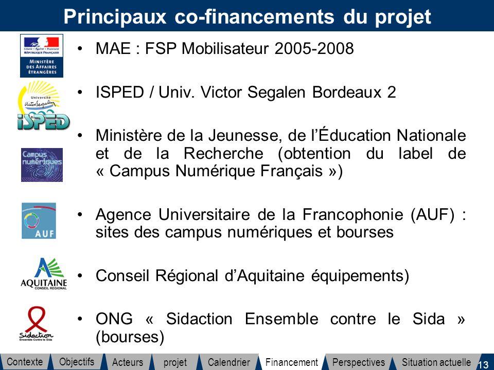 13 Principaux co-financements du projet MAE : FSP Mobilisateur 2005-2008 ISPED / Univ. Victor Segalen Bordeaux 2 Ministère de la Jeunesse, de lÉducati