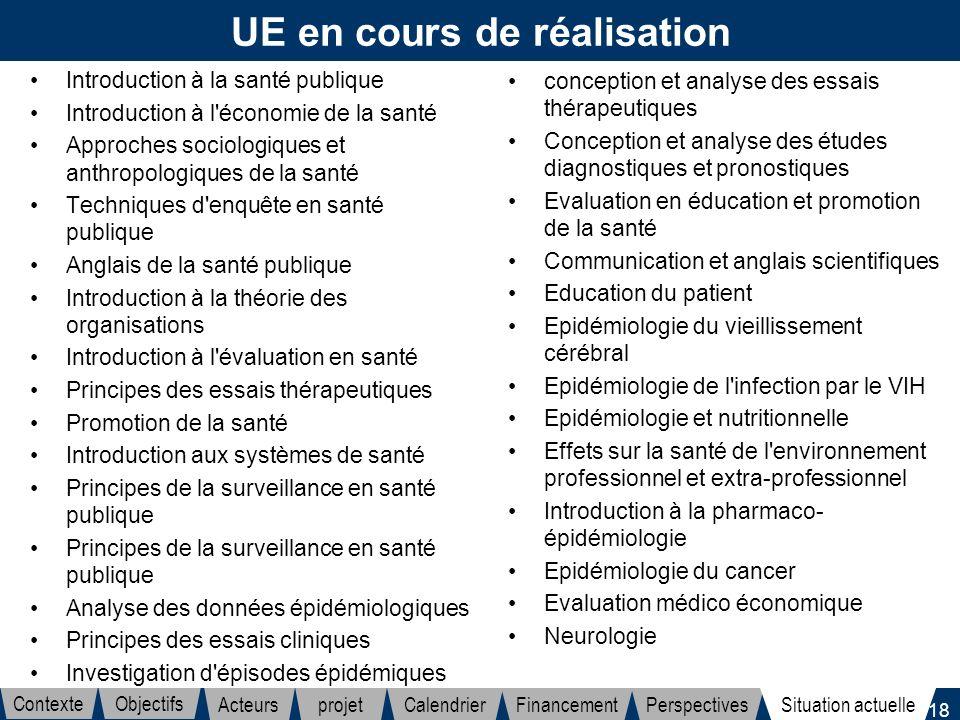 18 UE en cours de réalisation Introduction à la santé publique Introduction à l'économie de la santé Approches sociologiques et anthropologiques de la