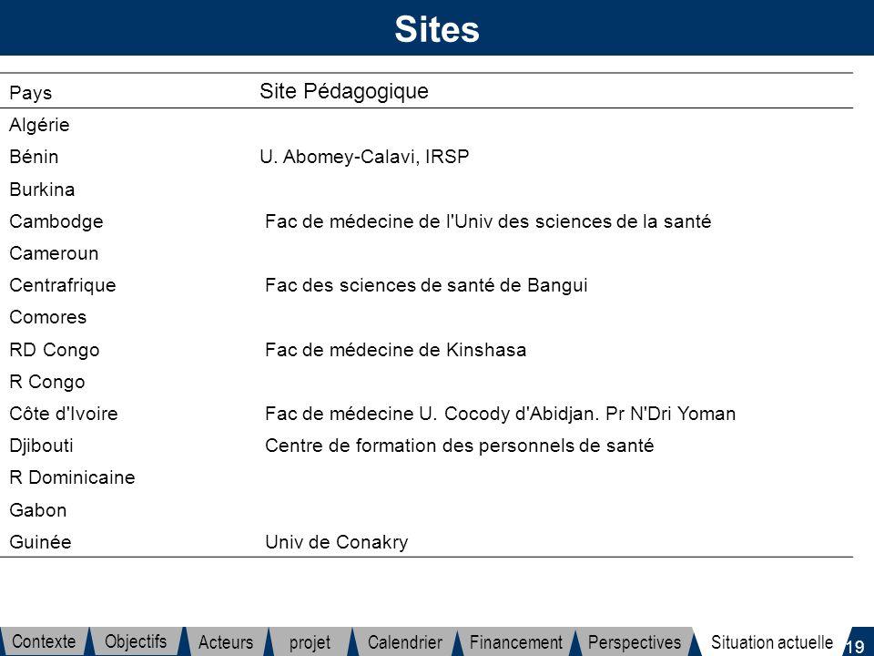 19 Sites Pays Site Pédagogique Algérie Bénin U. Abomey-Calavi, IRSP Burkina Cambodge Fac de médecine de l'Univ des sciences de la santé Cameroun Centr
