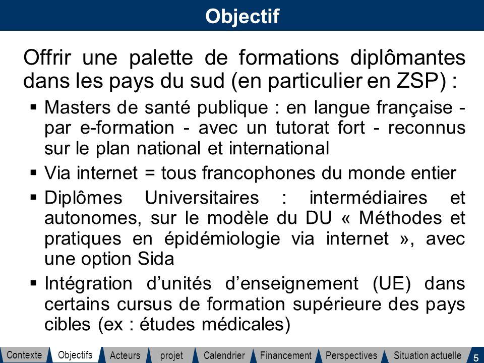 5 Objectif Offrir une palette de formations diplômantes dans les pays du sud (en particulier en ZSP) : Masters de santé publique : en langue française