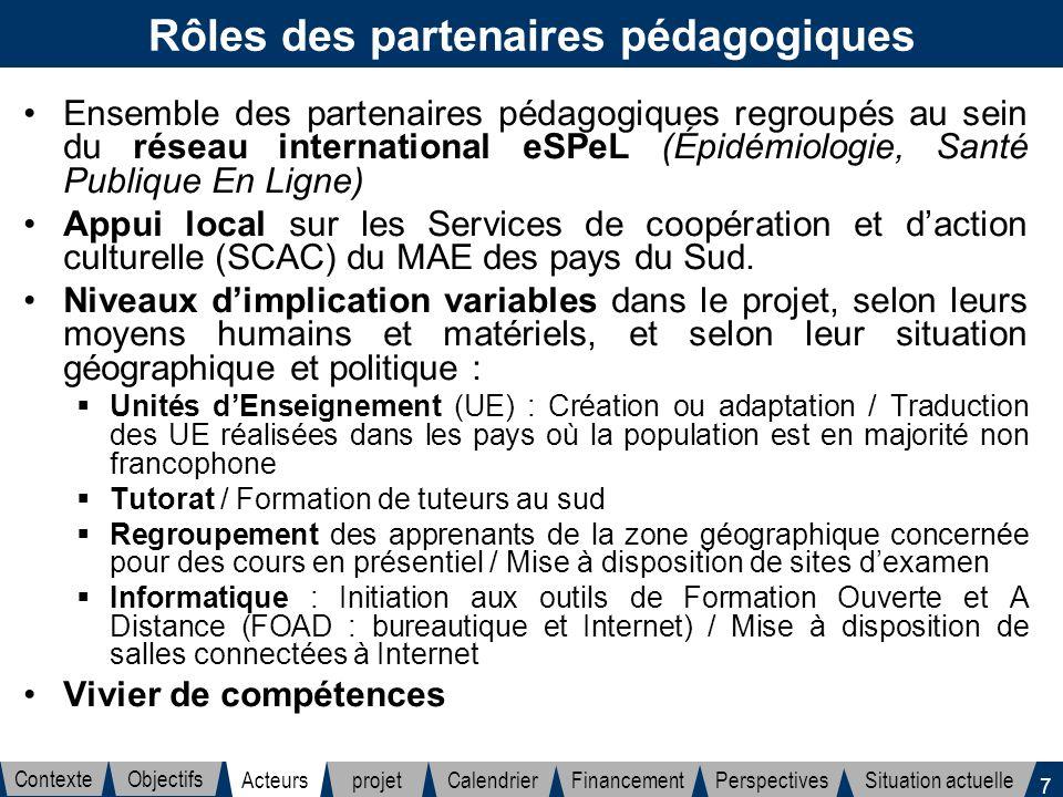 7 Rôles des partenaires pédagogiques Ensemble des partenaires pédagogiques regroupés au sein du réseau international eSPeL (Épidémiologie, Santé Publi