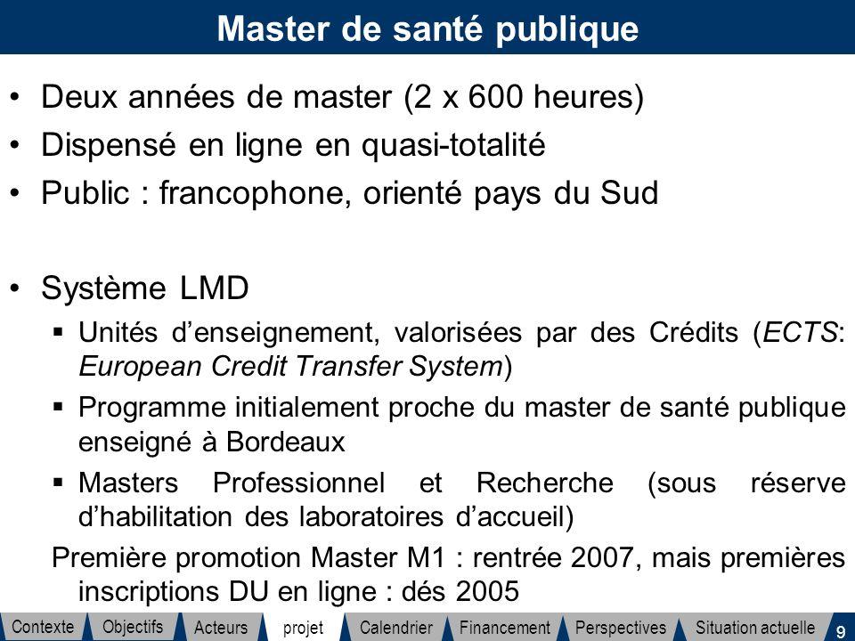 9 Master de santé publique Deux années de master (2 x 600 heures) Dispensé en ligne en quasi-totalité Public : francophone, orienté pays du Sud Systèm