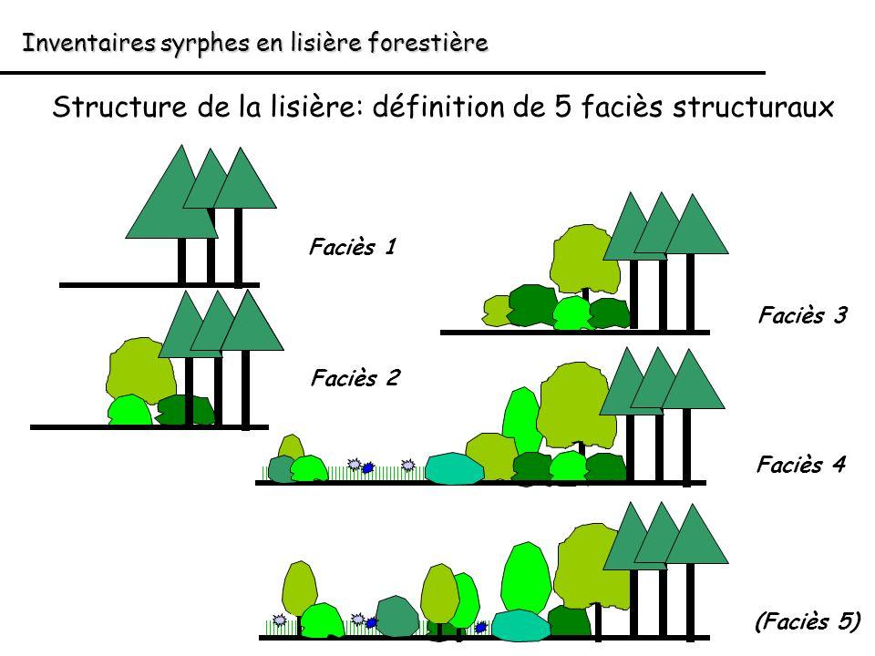 Inventaires syrphes en lisière forestière Structure de la lisière: définition de 5 faciès structuraux Faciès 1 Faciès 2 Faciès 3 Faciès 4 (Faciès 5)