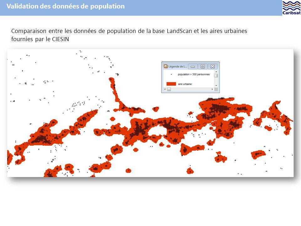 Validation des données de population Comparaison entre les données de population de la base LandScan et les aires urbaines fournies par le CIESIN