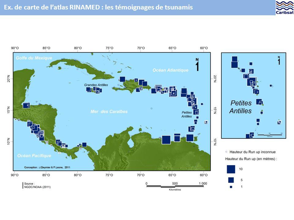 Ex. de carte de latlas RINAMED : les témoignages de tsunamis