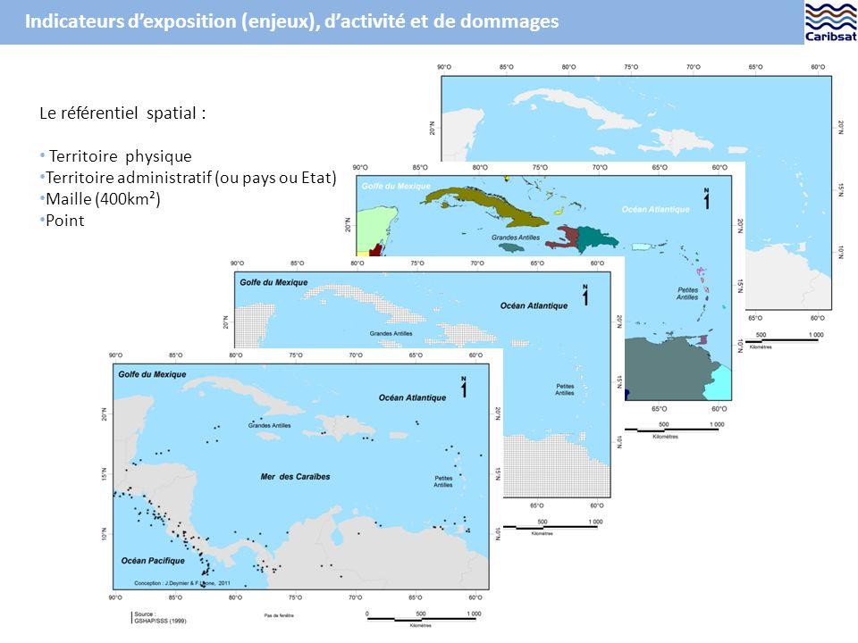 Indicateurs dexposition (enjeux), dactivité et de dommages Le référentiel spatial : Territoire physique Territoire administratif (ou pays ou Etat) Maille (400km²) Point