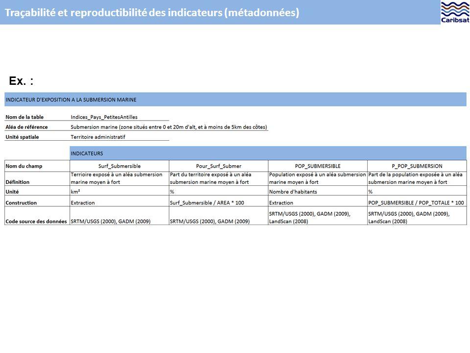 Traçabilité et reproductibilité des indicateurs (métadonnées) Ex. :
